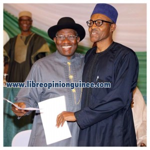 Photo muhhamadu Buhari et Goudhnuk Jonhatan