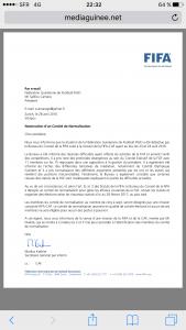Décision Caf et FIFA sur la Guinee