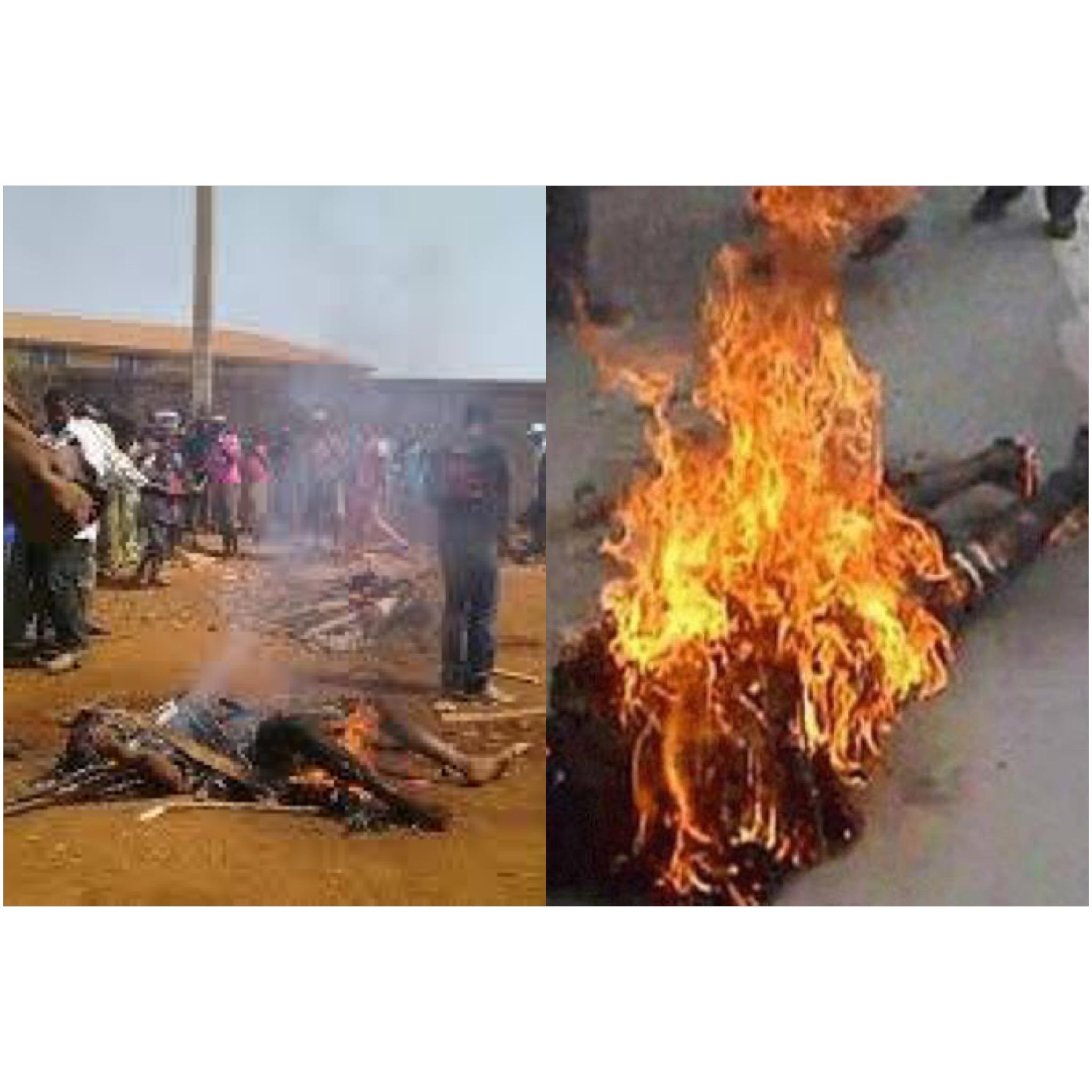 N'Zerekore Guinee des hommes brûlées vifs