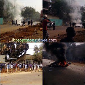 Manifestation des élèves à kaloum Guinée Conakry