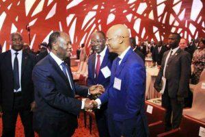 Cellou Dalein Diallo et Alhasane Dramane Ouattara au forum économique d'Abidjan