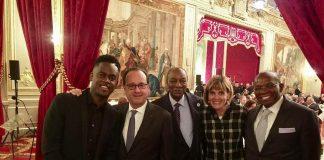 Black M, Francois hollande et Alpha Condé à l'Elysée dîner d'Etat