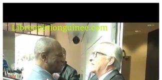 Alpha Condé et Jean Claude Junker de l'Union européenne à Bruxelles