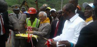 Alpha Conde à l'inauguration du pont Kaka Coyah Kouriah