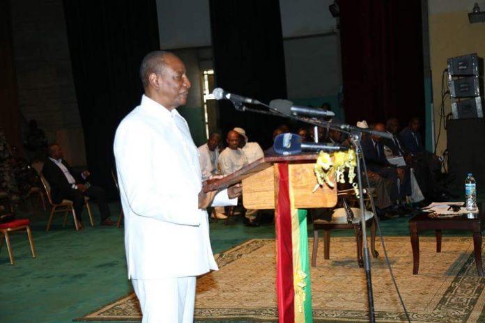 Alpha Condé au palais du peuple à Conakry