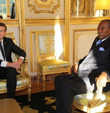 Emmanuel Macron et Alpha Conde au palais de l'Elysée
