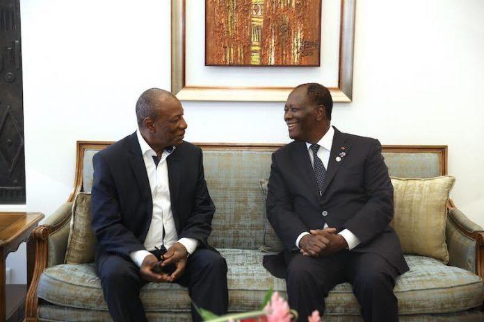 Alpha Conde et Alhassane Ouatara à Abidjan