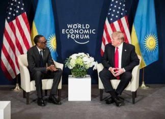 Paul Kagame du Rwanda et Donald Trump à Davos