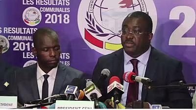 Me Salifou Kébé, President de la CENI Guinée, lors des proclamations des résultats partiels des communales au siège de l'institution