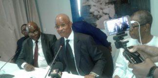 Cellou Dalein Diallo, Fode Oussou Fofana et Aliou Condé en conférence de presse à Conakry