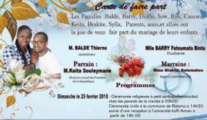 Carte de mariage de Tob Thierno Ousmane Balde