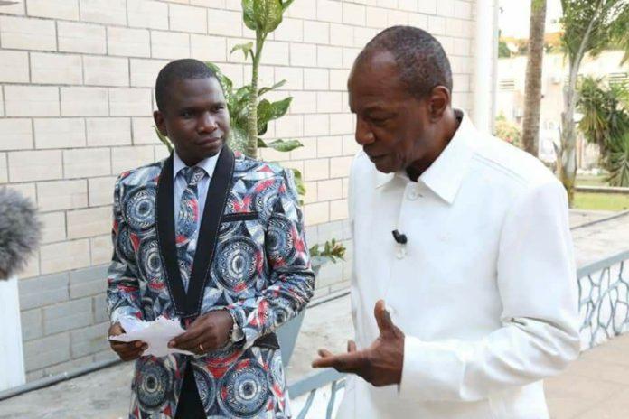 Alpha Condé président de la république de Guinée et le journaliste Aladji Cellou