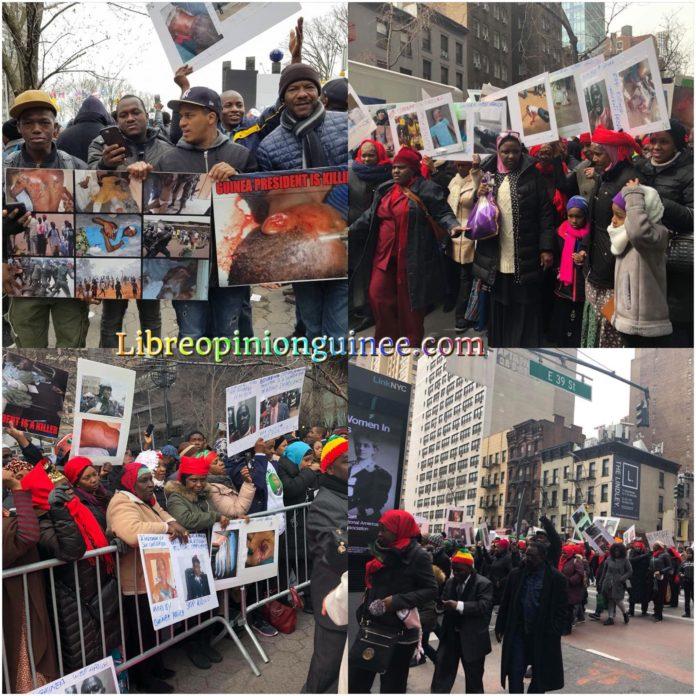 Manifestations des Guinéens a Ney york devant le siège de l'ONU