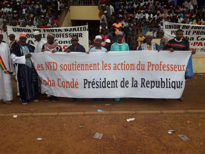 Les responsables du parti Nfd lors de la réception du président Guinéen Alpha Condé à Labé lors des journées de l'élevage