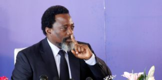 Le président congolais, Joseph Kabila, lors du conférence de presse, le 26 janvier 2018, à Kinshasa. © REUTERS/Kenny Katombe