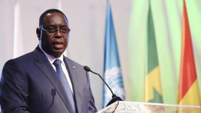 Le président sénégalais Macky Sall, lors d'un discours à la Conférence internationale sur l'émergence de l'Afrique, le 28 mars 2017 à Abidjan. © SIA KAMBOU / AFP