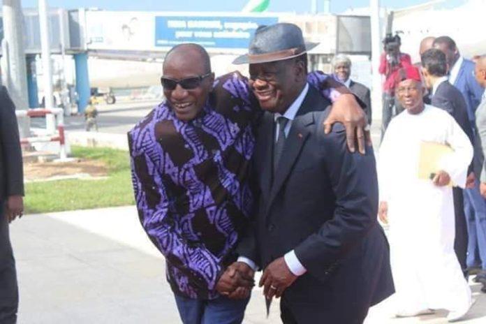 Le président Guinéen Alpha Condé et son homologue ivoirien Alassane Ouatara à Abidjan
